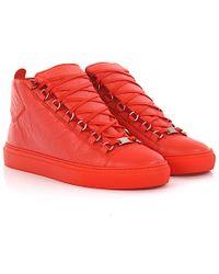 Balenciaga - Sneakers High Arena Leather Orange - Lyst