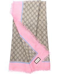 4b1c58ba2 Gucci Women Scarf Sl Big Bee GG Modal Silk Logo Beige Pink