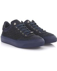 Jimmy Choo - Trainer Low Ace Nubuck Leather Blue Metallic Point-embossed - Lyst