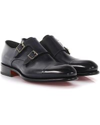 Santoni - Double-monk-strap 11652 Leather Blue Goodyear Welted - Lyst