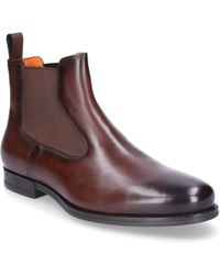 Santoni - Chelsea Boots 15307 Smooth Leather Brown - Lyst