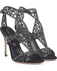 Sergio Rossi | Sandals Tresor Suede Black Design-perforated Jewellery Ornament | Lyst