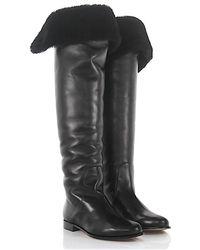 Clearance Geniue Stockist Sale Store Overknees Boots lamb fur nappa leather black Jimmy Choo London Td5eSr2XWK