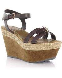 Sergio Rossi - Wedge Sandals Plateau Leather Brown - Lyst