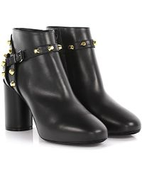 Balenciaga - Ankle Boots Classic Booties Leather Black Rivet With Gold Elements - Lyst