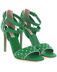 Valentino - Sandals Free Rockstud Nappa Leather Green Quilted Spikes White - Lyst