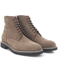 Moreschi - Lace-up Ankle Boots 042380 Suede Taupe Lambskin - Lyst
