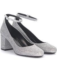 Saint Laurent | Court Shoes Babies 70 Ankle Strap Fabric Silver Glitter | Lyst