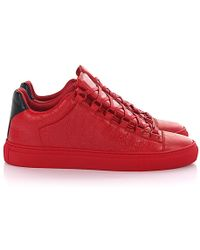 Balenciaga - Sneaker Arena Low Leder rot Crinkled - Lyst