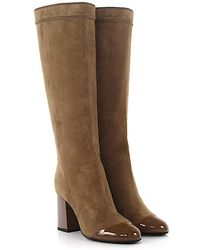 Lanvin - Knee Boots Shftb1 Suede Patent Leather Beige - Lyst