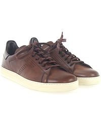 Sneaker smooth leather Hole pattern Logo brown Tom Ford vBsMq