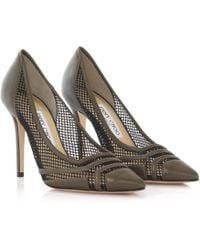 Jimmy Choo - Court Shoes Hettie Nappa Leather Green Mesh Black - Lyst