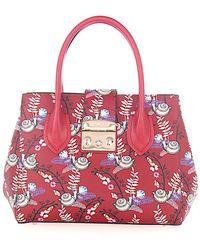 Furla - Women Handbag Metropolis M Leather Red Embossed - Lyst
