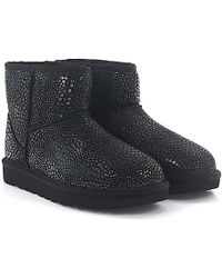 UGG - Ankle Boots Classic Mini Suede Black Gleam Silver Lambskin - Lyst