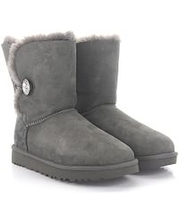 UGG - Ankle Boots Bailey Button Bling Suede Grey Swarovski Crystal - Lyst