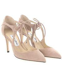 Jimmy Choo - Court Shoes Vanessa 85 Leder Veloursleder Beige - Lyst