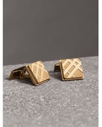 Burberry - Check-engraved Square Cufflinks Pale Gold - Lyst