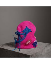 Burberry - Floral Crochet Cashmere Blend Beanie - Lyst