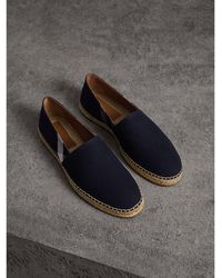 Burberry - Overdyed House Check And Cotton Canvas Espadrilles - Lyst