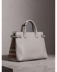 Burberry - The Medium Banner In Leather And House Check Light Grey Melange - Lyst