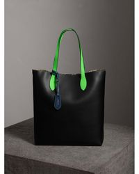 Burberry - Medium Two-tone Coated Leather Tote - Lyst