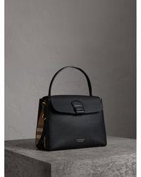 Burberry - Medium Grainy Leather And House Check Tote Bag Black - Lyst c67209f61fbda