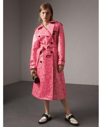Burberry - Laminated Floral Lace Trench Coat - Lyst