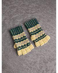 Burberry - Fair Isle Wool-cashmere Blend Fingerless Gloves - Lyst