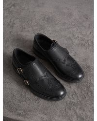 Burberry - Brogue Detail Textured Leather Monk Shoes - Lyst