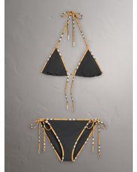 Burberry - Vintage Check Trim Triangle Bikini - Lyst
