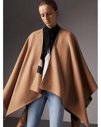 Burberry - Reversible Check Merino Wool Poncho Camel - Lyst