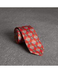 Burberry - Modern Cut Check And Equestrian Knight Silk Tie - Lyst