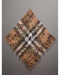 Burberry - Doodle Print And Check Silk Cotton Scarf - Lyst