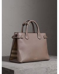Burberry - The Medium Banner In Leather And House Check Thistle Grey - Lyst
