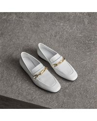 Burberry - Link Detail Patent Leather Loafers - Lyst