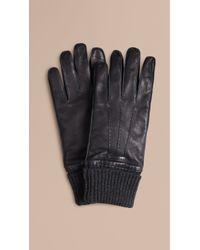 Burberry - Knit Cuff Lambskin Gloves - Lyst