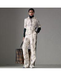Burberry - Landmark Print Silk Jumpsuit - Lyst