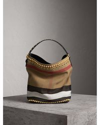 Burberry - The Medium Ashby In Riveted Canvas Check And Leather - Lyst