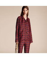Burberry - Geometric Tile Print Silk Pyjama-style Shirt - Lyst