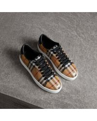 Burberry - Vintage Check And Leather Trainers - Lyst