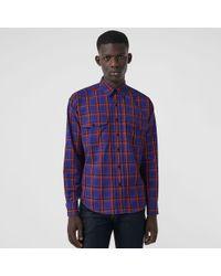 Burberry - Check Cotton Twill Shirt - Lyst