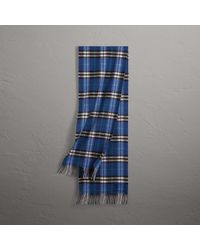 Burberry - Check Cashmere Scarf In Bright Navy | - Lyst