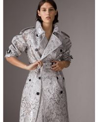 Burberry - Laminated Lace Trench Coat - Lyst