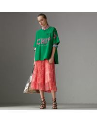 Burberry - Pleated Lace Skirt - Lyst