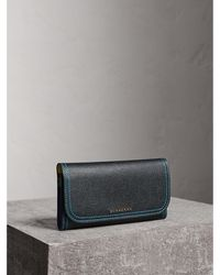 Burberry - Colour Block Continental Wallet And Coin Case - Lyst