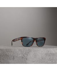 b3523797489 Lyst - Burberry Trench Collection Square Frame Sunglasses in Brown ...
