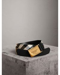 Burberry - Plaque Buckle House Check And Leather Belt - Lyst