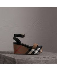 Burberry - House Check And Leather Wedge Sandals - Lyst