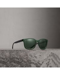 Burberry - Embossed Check Detail Square Frame Sunglasses - Lyst