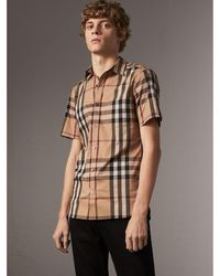 Burberry - Short-sleeved Check Stretch Cotton Shirt Camel - Lyst